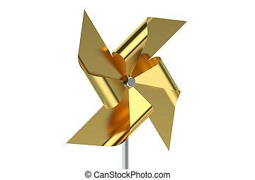 Golden Pinwheel isolated on white background