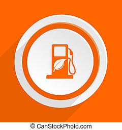 biofuel orange flat design modern icon for web and mobile...