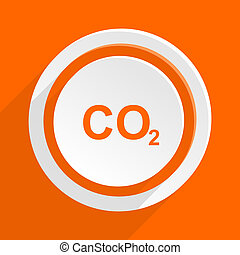 carbon dioxide orange flat design modern icon for web and...