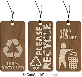 Set of three recycling grunge tags