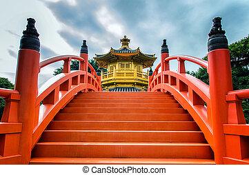 Nan Lian Garden - Golden Pavilion and Lotus Pond - Nan Lian...