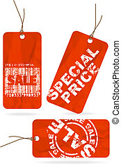 Set of red crumpled sale paper tags - Set of red crumpled...