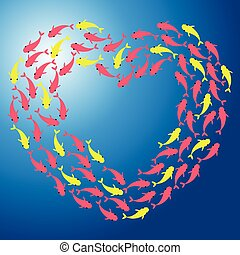 Fish shoal forming heart - Scalable vectorial image...
