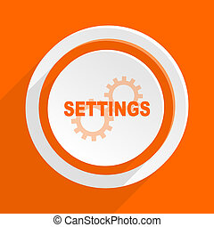 settings orange flat design modern icon for web and mobile...
