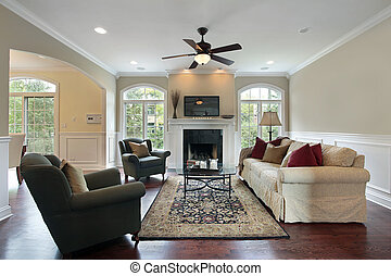 Family room with fireplace - Familly room in luxury home...