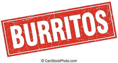 burritos red square grunge stamp on white
