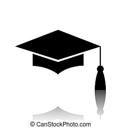 Mortar Board or Graduation Cap, Education symbol Black...
