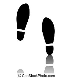 Imprint soles shoes icon Black vector illustration with...