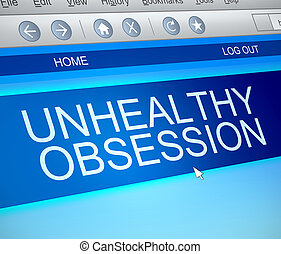 Unhealthy obsession concept - Illustration depicting a...