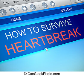 Surviving heartbreak concept - Illustration depicting a...