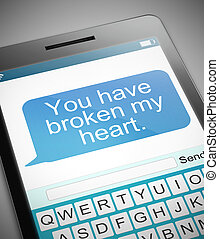 Broken heart message concept. - Illustration depicting a...