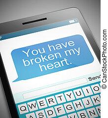 cassé, coeur, message, concept.,