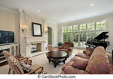 Family room with patio view - Family room in luxury home...