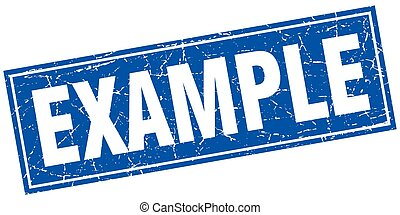 example blue square grunge stamp on white