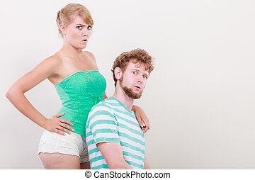 Funny young couple making silly face - Funny playful young...