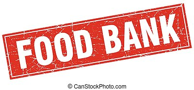 food bank red square grunge stamp on white
