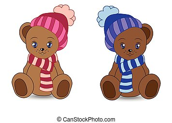 teddy bear in a cap and a scarf