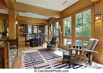 Dining room with wood trim