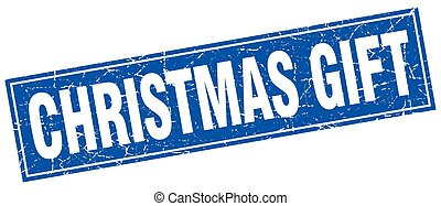 christmas gift blue square grunge stamp on white