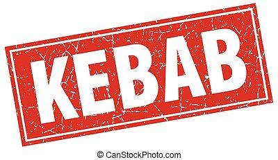kebab red square grunge stamp on white