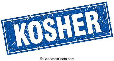 kosher blue square grunge stamp on white