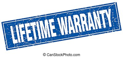lifetime warranty blue square grunge stamp on white