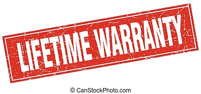 lifetime warranty red square grunge stamp on white