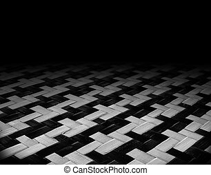 the dark room with  wooden texture of rattan patterns