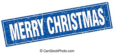 merry christmas blue square grunge stamp on white