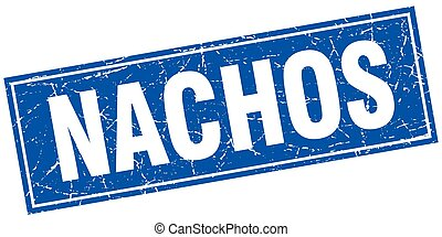 nachos blue square grunge stamp on white