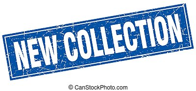 new collection blue square grunge stamp on white
