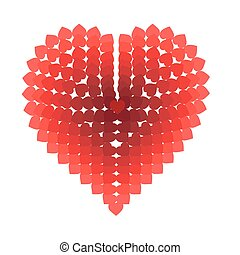 Heart composed of small hearts on a white background