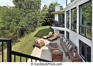 Patio with wood furniture