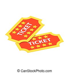 Two tickets isometric 3d icon - Two tickets isometric 3d...