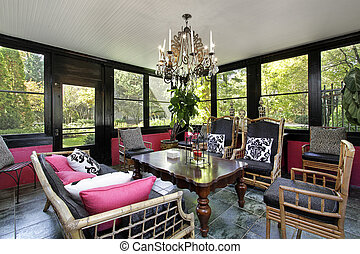 Porch with black trim - Porch in luxury home with black trim
