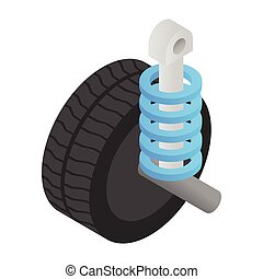 Wheel tire and shock absorber isometric 3d icon on a white...