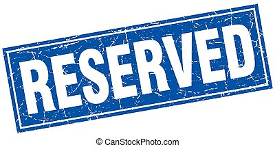 reserved blue square grunge stamp on white