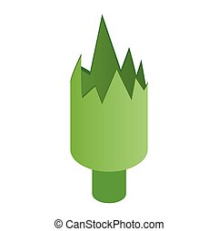 Shattered green bottle isometric 3d icon on a white...
