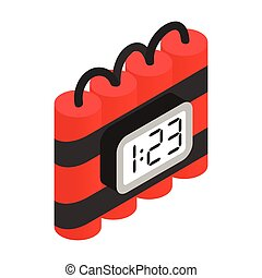 Bomb with digital timer isometric 3d icon