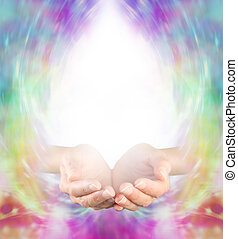 Healing Message Board Background - Female cupped hands with...