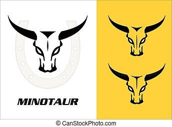 Wild bulls, minotaur, three wild bulls head with the bold...
