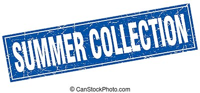 summer collection blue square grunge stamp on white