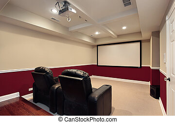 Media room with home theater chairs