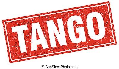 tango red square grunge stamp on white