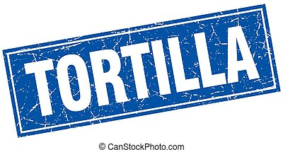 tortilla blue square grunge stamp on white
