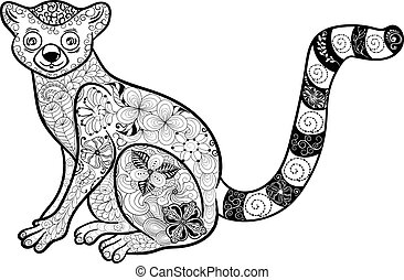 "Lemur doodle - Illustration ""Lemur"" was created in doodling..."