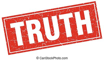 truth red square grunge stamp on white