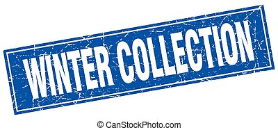winter collection blue square grunge stamp on white