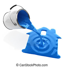 blue paint pouring from bucket in house silhouette...