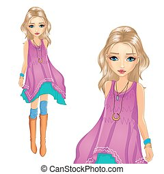 Fashion Girl In Tunic Goes - Vector illustration of blonde...